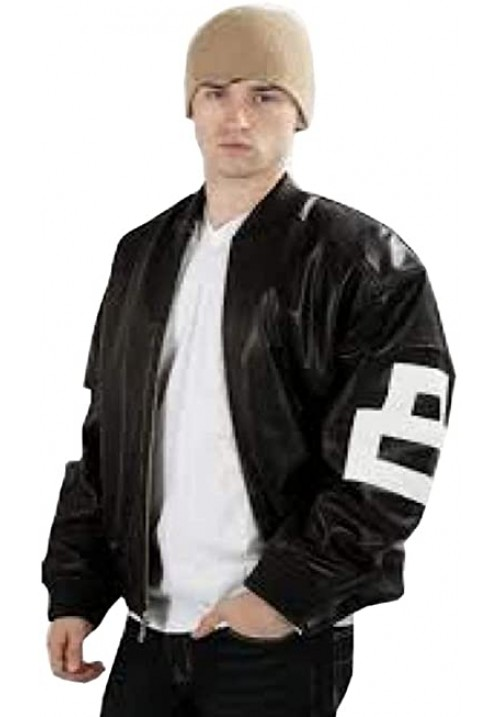 8 Ball Men's Bomber Genuine Leather Jacket Black