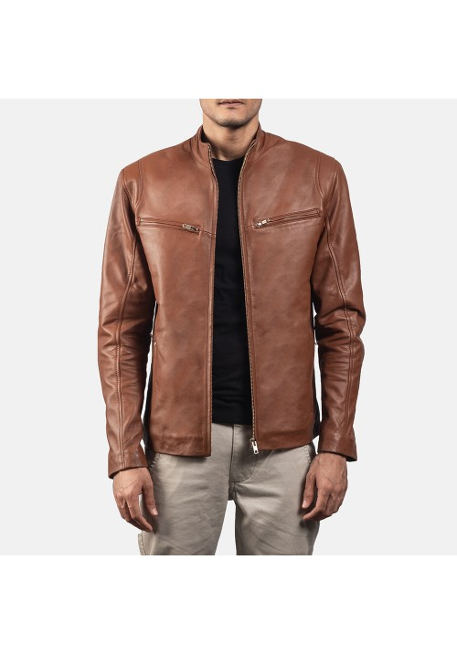 Mens Ionic Leather Brown Jacket