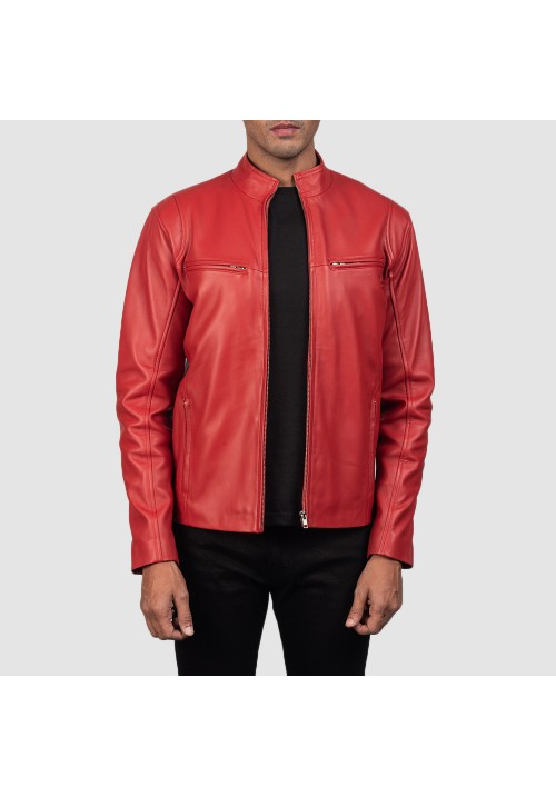Mens Ionic Leather Red Jacket