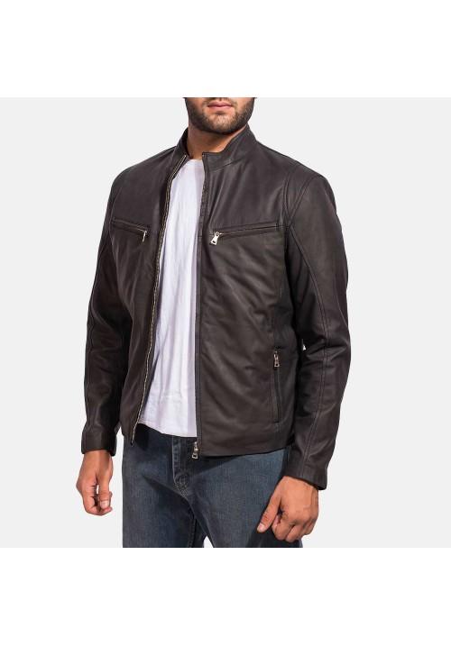 Mens Ionic Leather Black Jacket