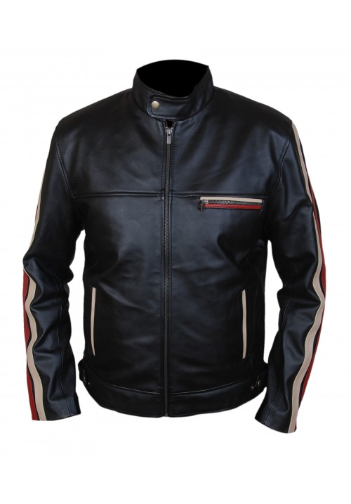 Kid's Racing Stripes Cafe Racer Genuine Leather Jacket