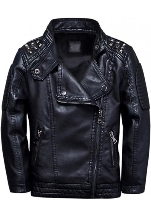 Kids Studded Black Leather Jacket  A-4