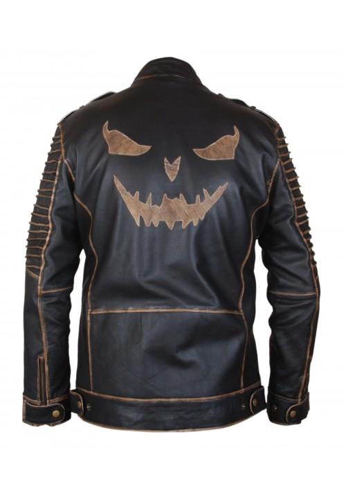 The Killing Suicide Squad Joker Slim Fit Hooded Leather Jacket