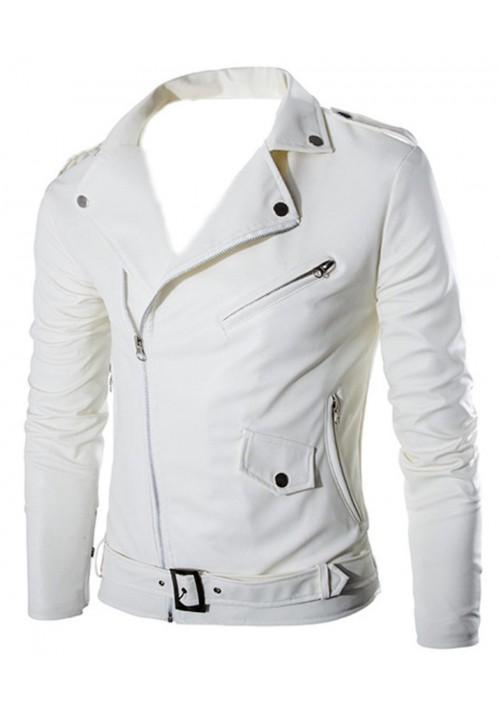 White Leather Jacket For Boys