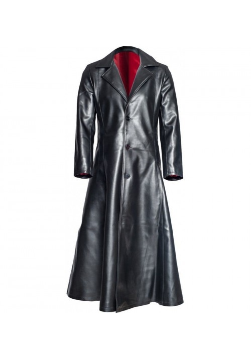 Wesley Snipes Blade Trinity Leather Long Men Trench Coat