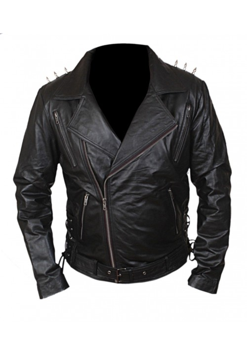 Kids Ghost Rider Nicholas Cage Biker Jacket with Metal Spikes