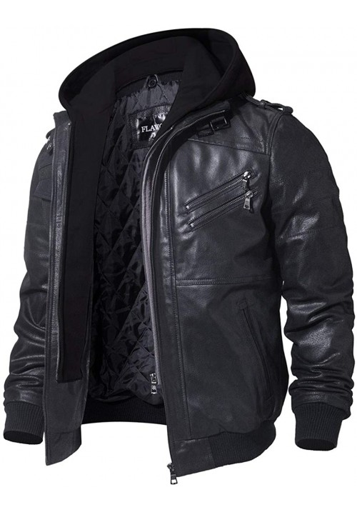 Men Black Leather Motorcycle Jacket with Removable Hood