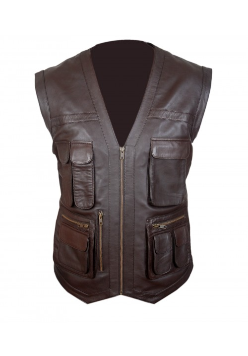 Chris Pratt Jurassic World Brown Leather Vest