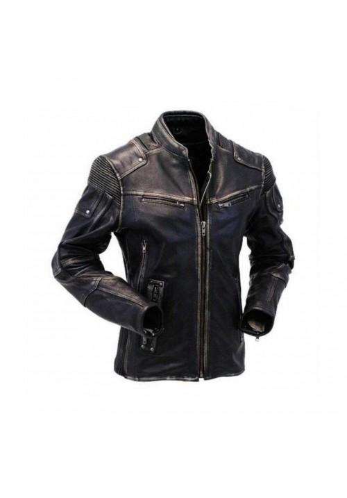 Mens Motorcycle Distressed Black Real Leather Jacket