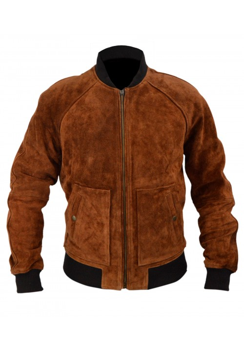 Aloha Premiere Bradley Cooper Brown Bomber Suede Leather Jacket