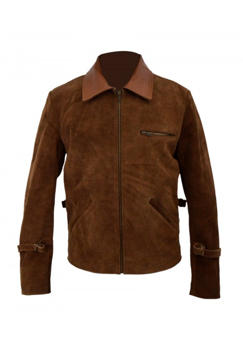 ALLIED BRAD PITT BROWN SUEDE LEATHER JACKET