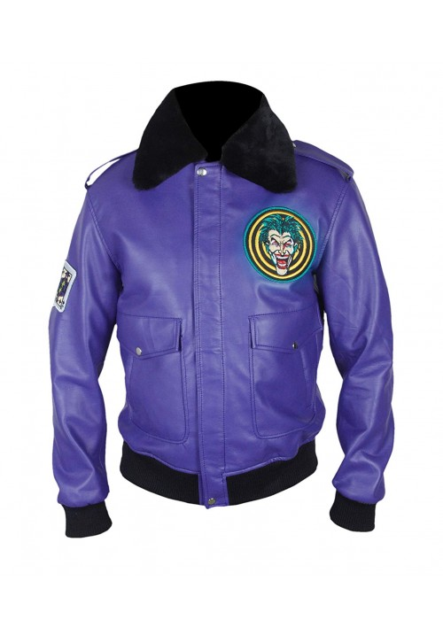 Batman Henchman Joker Goon Purple Bomber Jacket