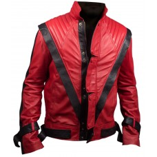 MICHAEL JACKSON RED THRILLER LEATHER JACKET