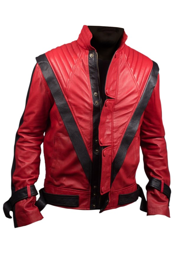 XXS-3XL Real Sheep Leather Jacket MJ Red Thriller