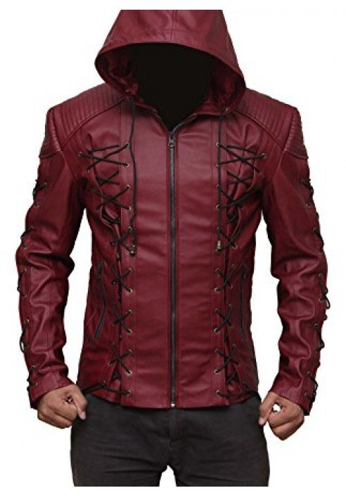 Arsenal Hooded Red Leather Jacket