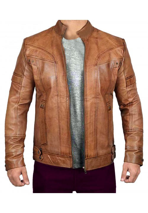 Mens Brown Distressed Leather Cafe Racer Jacket