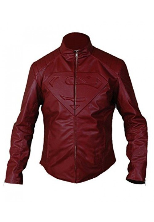 MAROON & BLACK MAN OF STEEL SUPERMAN JACKET WITH SUPERMAN LOGO