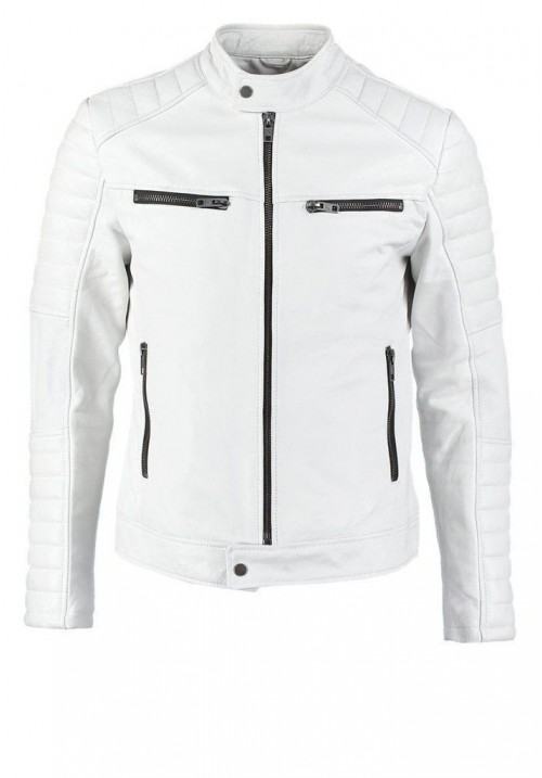 Mens White Leather Biker Jacket