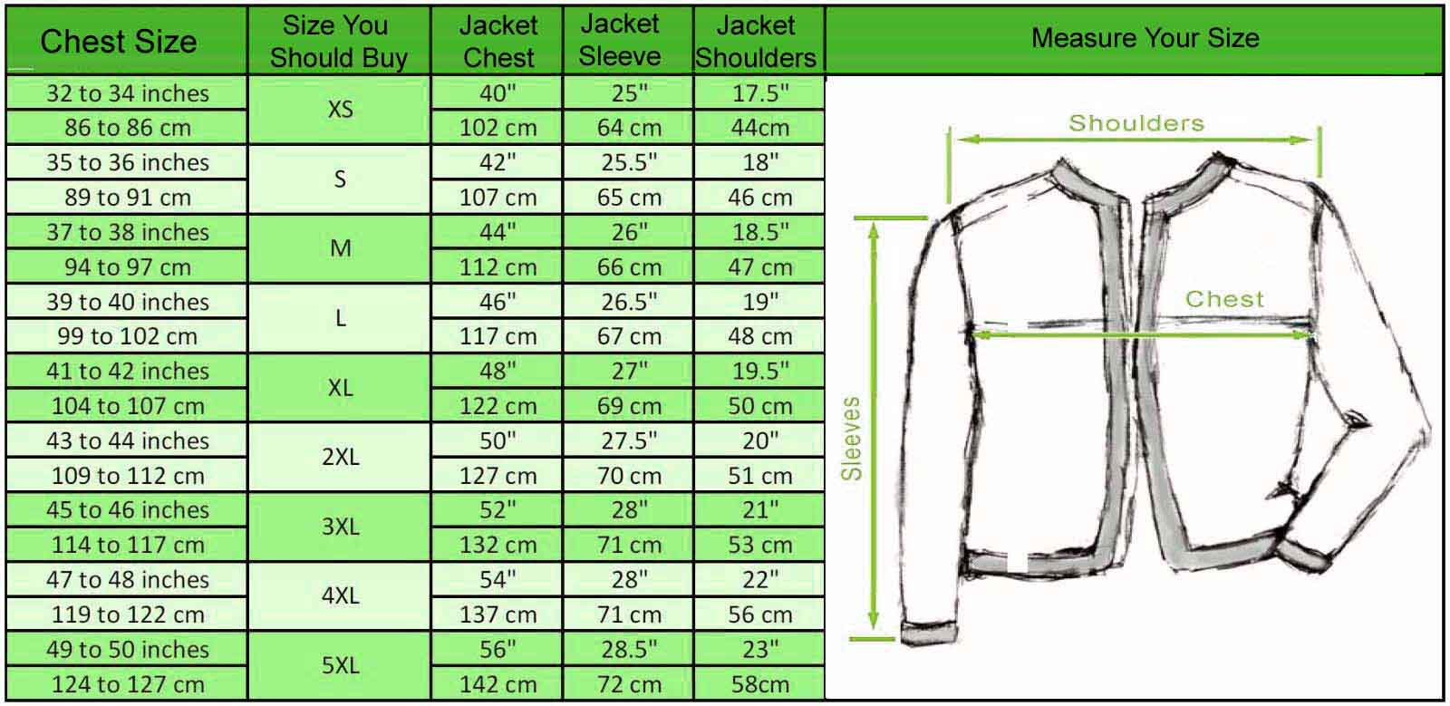 size chart for mens 8 ball jacket