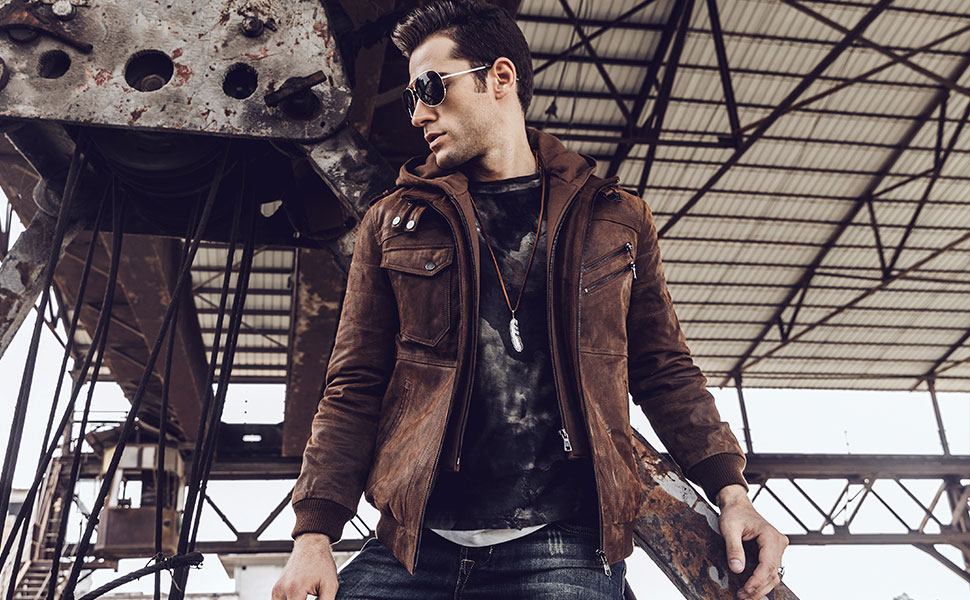Flavor Men Leather Motorcycle Jacket with Removable Hood